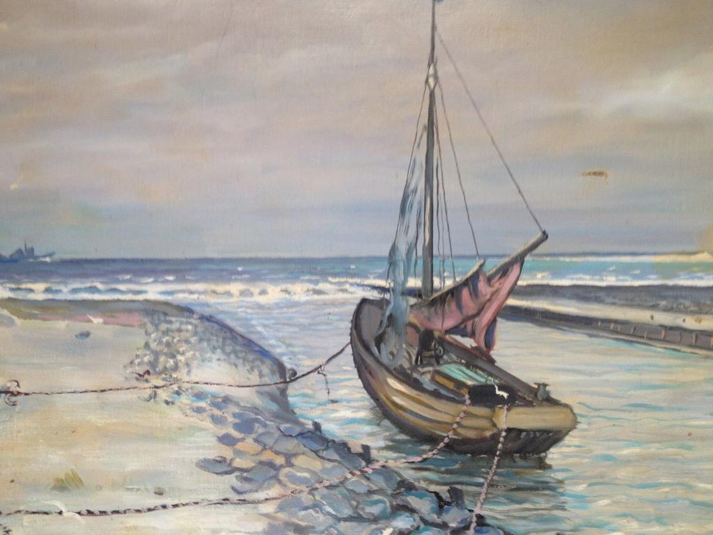 olgemalde impressionist hafen katwijk holland selten antik nordsee 57